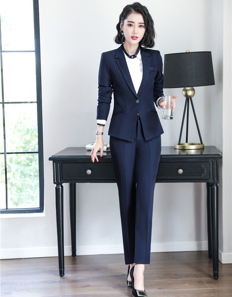 New 2019 Ladies Navy Blue Blazer Women Business Suits Formal Office Suits Work Wear Uniforms Pant And Jacket Sets Ol Styles