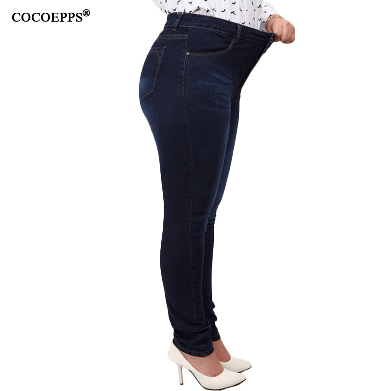 COCOEPPS Casual Denim Ankle-length Trousers Large Size High Waist Fashion Women's Jeans 2017 Women Stretch Pencil Pants 5XL 6XL spring new women jeans high waist stretch ankle length slim pencil pants fashion female jeans 2017 plus size sexy girl jeans