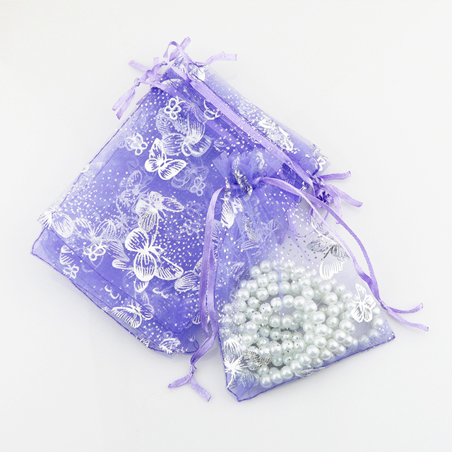 Hot 100pcs Lot 11x16cm Purple Organza Bag Candy Jewelry Packaging Gift Erfly Wedding