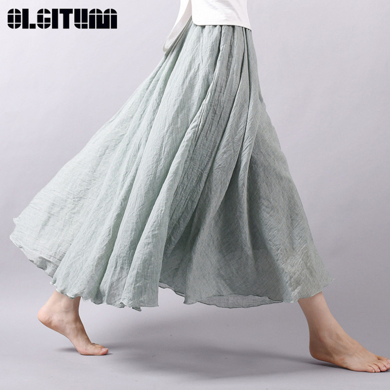 OLGITUM 2019 Women Linen Cotton Long Skirts Folk Style Pleated Elastic Waist Maxi Skirt Beach Summer Big Swing Skirts Faldas