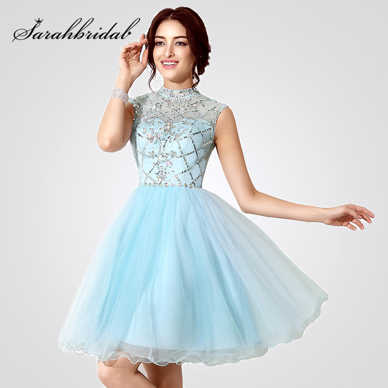 Glitter Crystal In Stock Cocktail Dresses Sky Blue Tulle High Neck Short Prom Gown For Graduation Homecoming Party Dress OS199