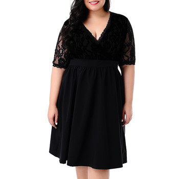 2019 Large Size V-neck short-sleeved Sexy Lace Waist Dress Summer Outdoor Nightclub Party Sexy Elegant Dress Plus Size Sundress