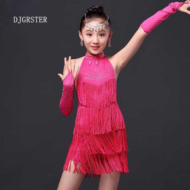49a7caa9d8 DJGRSTER Girls Party Dance Costume Dress Tasseled Ballroom Latin