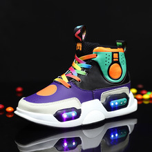 New Style Kids LED USB Luminous Sneakers Glowing Children Lights Up Shoes Size 25-37 2018 new usb illuminated krasovki luminous sneakers glowing kids shoes children with sole led lights up sneakers for girls