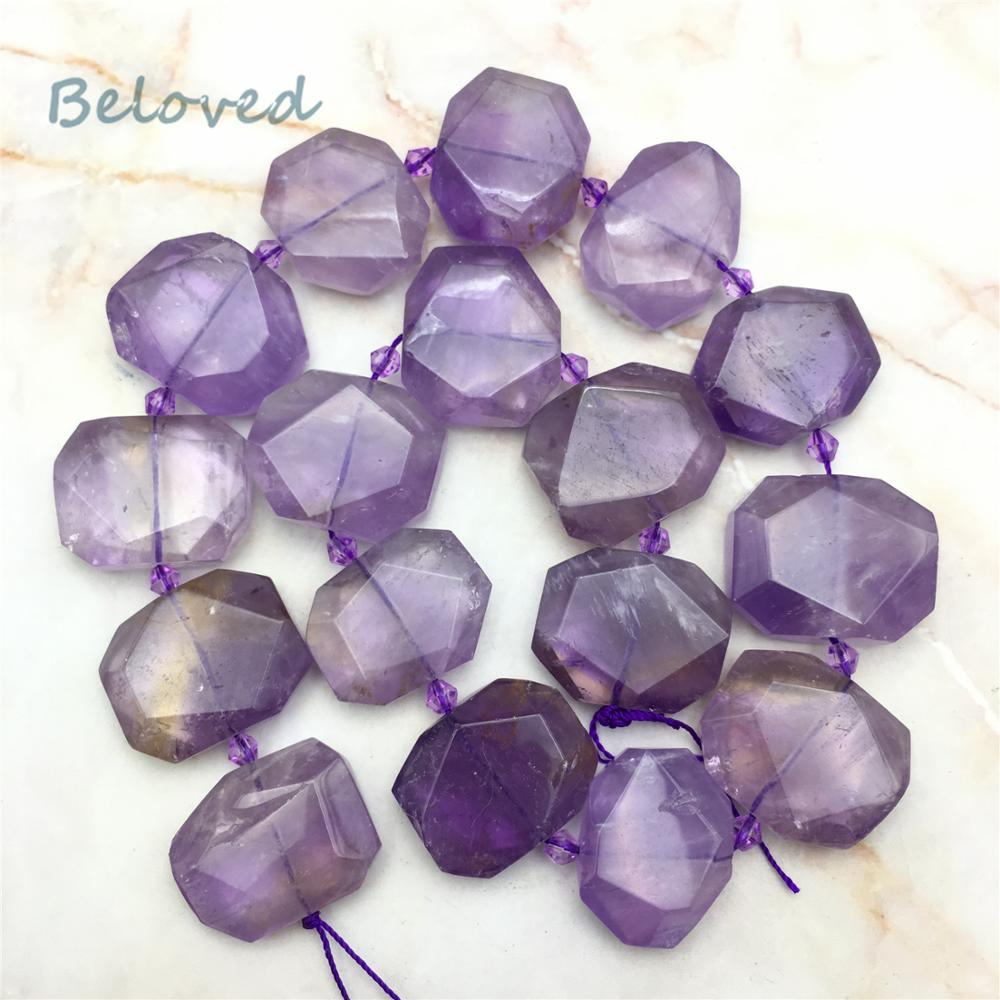 Smooth Faceted Rectangle Amethysts Slice Loose Beads,Purple Crystal Quartz Gems Slab Pendant Beads For Jewelry Making, BG18303