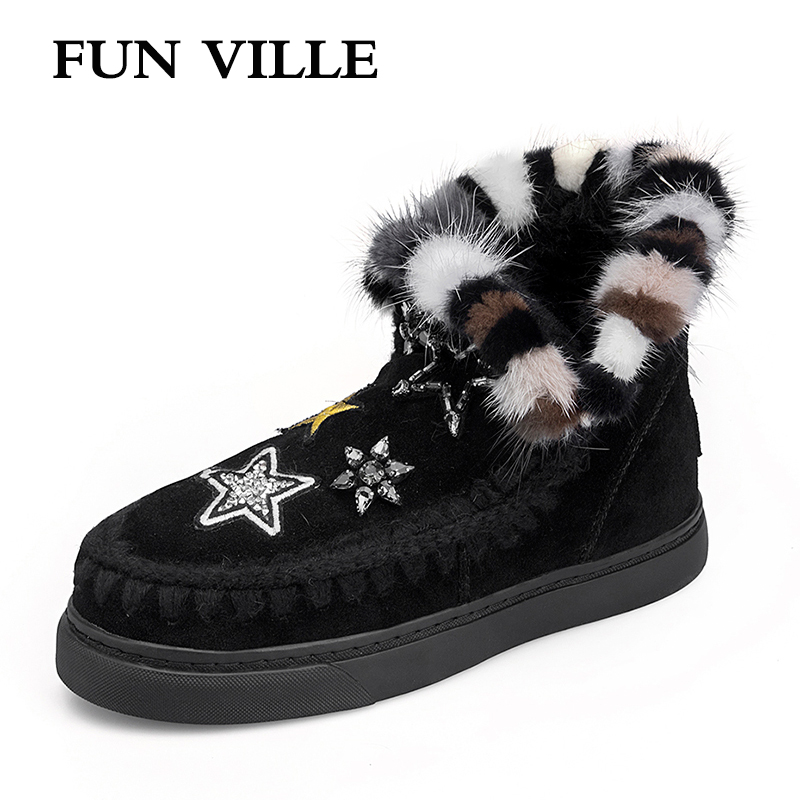 FUN VILLE 2018 New Fashion Woman snow boots Cow Natural Suede Real Fur Wool Ankle boots warm Winter Boot Shoes for Women Flats 2018 fashion natural cow suede split leather womans winter snow boots for women winter shoes warm fur high quality ankle boots