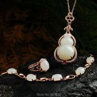 925 silver Natural White HeTian Yu Gem Lucky Cucurbit Pendant Necklace Bracelet Ring Set + certificate Fine Jewelry