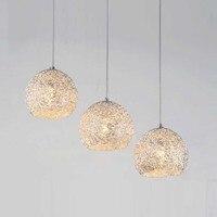 Современный Серебряный алюминиевый подстаканник  подвесной светильник для столовой  ресторана  Подвесная лампа бар стойка  коридор  подвес...