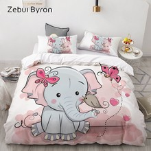 3D Cartoon Bedding Set for Kids/Baby/Child/Boy/Girl,Pink elephant Duvet Cover Set Custom/Europe/Queen,Quilt/Blanket Cover Set(China)