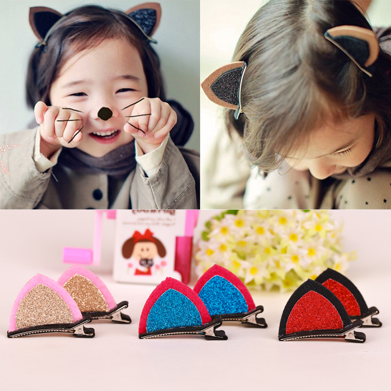 New 1Pc Stereo Double Cat Ear Clip With Sequins Ears Baby Hair Clip Cute Of Fan Lovely Shape Hairpins Children Accessories
