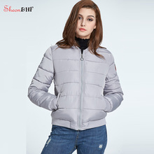 SheonDHF Women Parkas Cotton Padded Quilted Coats And Down Short Jacket Winter Female Basic Jackets Wind Breaker Coats Outerwear