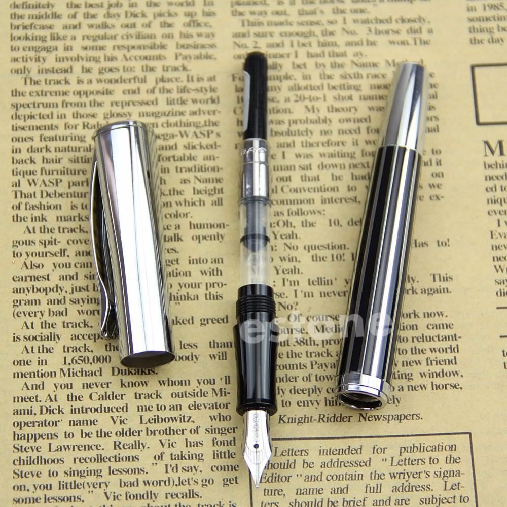 Fountain Pen Medium Nib Silvery Black BAOER 051 New baoer 3035 stainless medium nib 0 5mm fountain pens