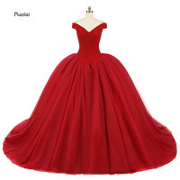 2014 Newest Luxury Ball Gown Wedding Dresses Beading Off The Shoulder V Neck Lace Up Back