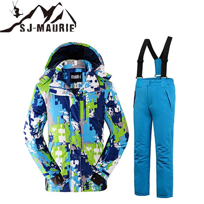 Sj-maurie 2018 nouvelle veste de Ski pour enfants + pantalon combinaison de neige pour Sports de plein air combinaison de Ski enfants vêtements d'hiver ensemble pour garçons filles
