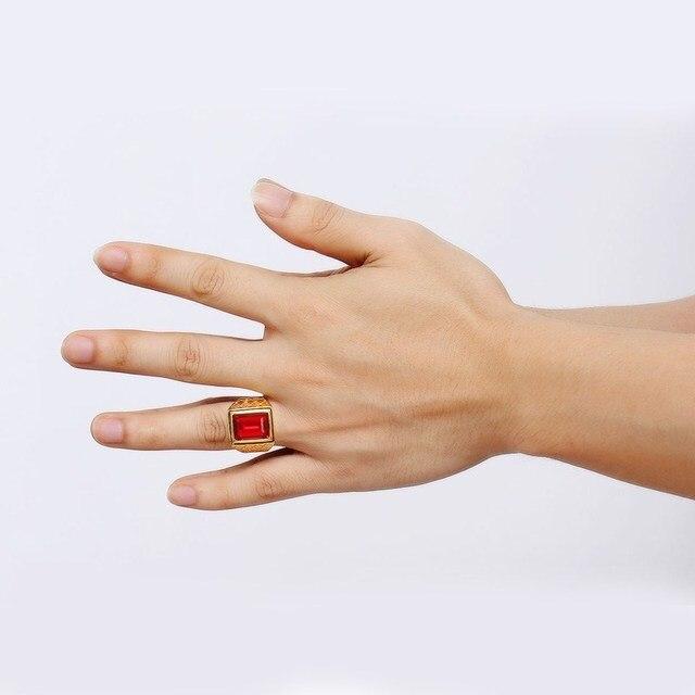 Uomini Anelli In Oro colore Piazza Cut Red Rhinestone DELLA CZ Anello di Nozze In Acciaio Inox Bands Fidanzamento Gioielli di Moda anel masculino