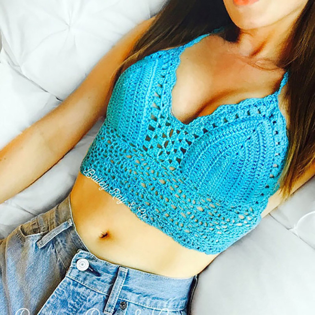 Women Lace Crochet Knitted Sexy Bra Vest Crop Top Boho Beachwear Tank Hollow Out Swimming Suit Halter Harajuku Lace Up Flower