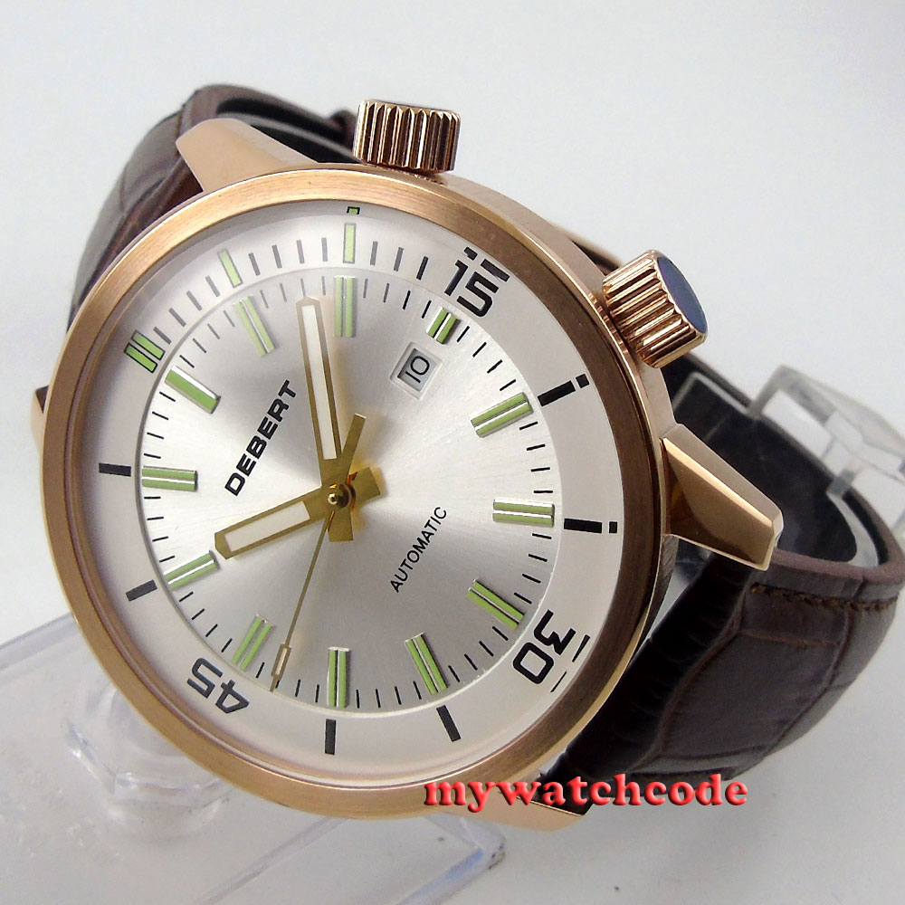 45mm white DIal rose gold case Miyota 821A Movement Automatic mens Watch 21 debert 45mm white dial miyota 821a movement automatic date day mens watch