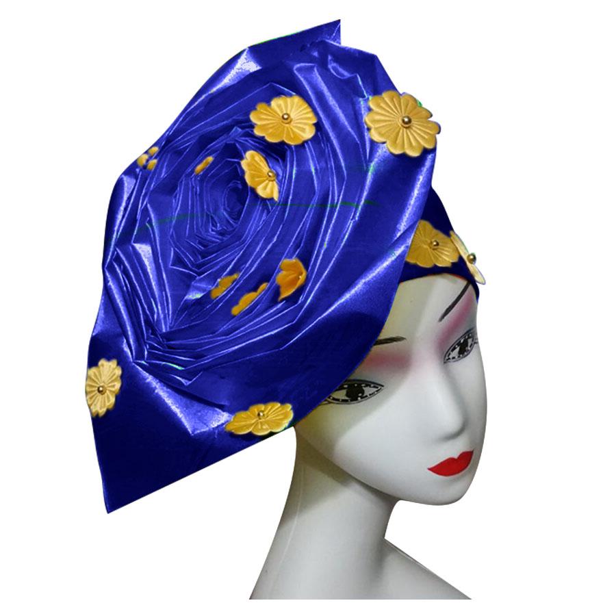 Auto gele nigerian gele headtie already made auto hele turban cap african aso ebi aso oke headtie 2018 (2)