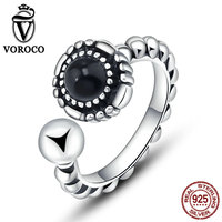 VOROCO 100 Genuine 925 Sterling Silver Black Round Open Finger Rings For Women Vintage Fine Jewelry