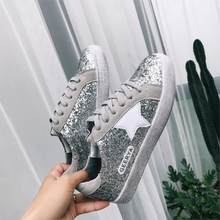 2018 Superstars Style Small White Dirty Shoes Glitter Espadrilles Lace Up Creepers  Bling Star Oxford Shoes Women Casual Loafers 94b2d2ef29e8