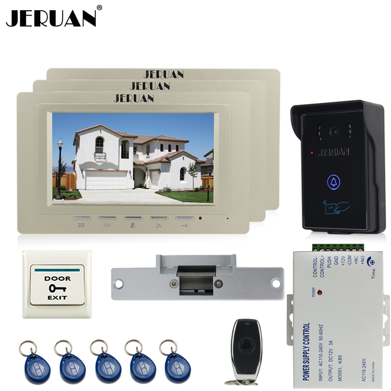 JERUAN three desk 7`` luxury Video Intercom Video Door Phone System+700TVL RFID Access Waterproof Touch key Camera+Cathode lock jeruan 7 inch video door phone intercom system kit rfid touch key waterproof access camera 180kg magnetic lock remote control