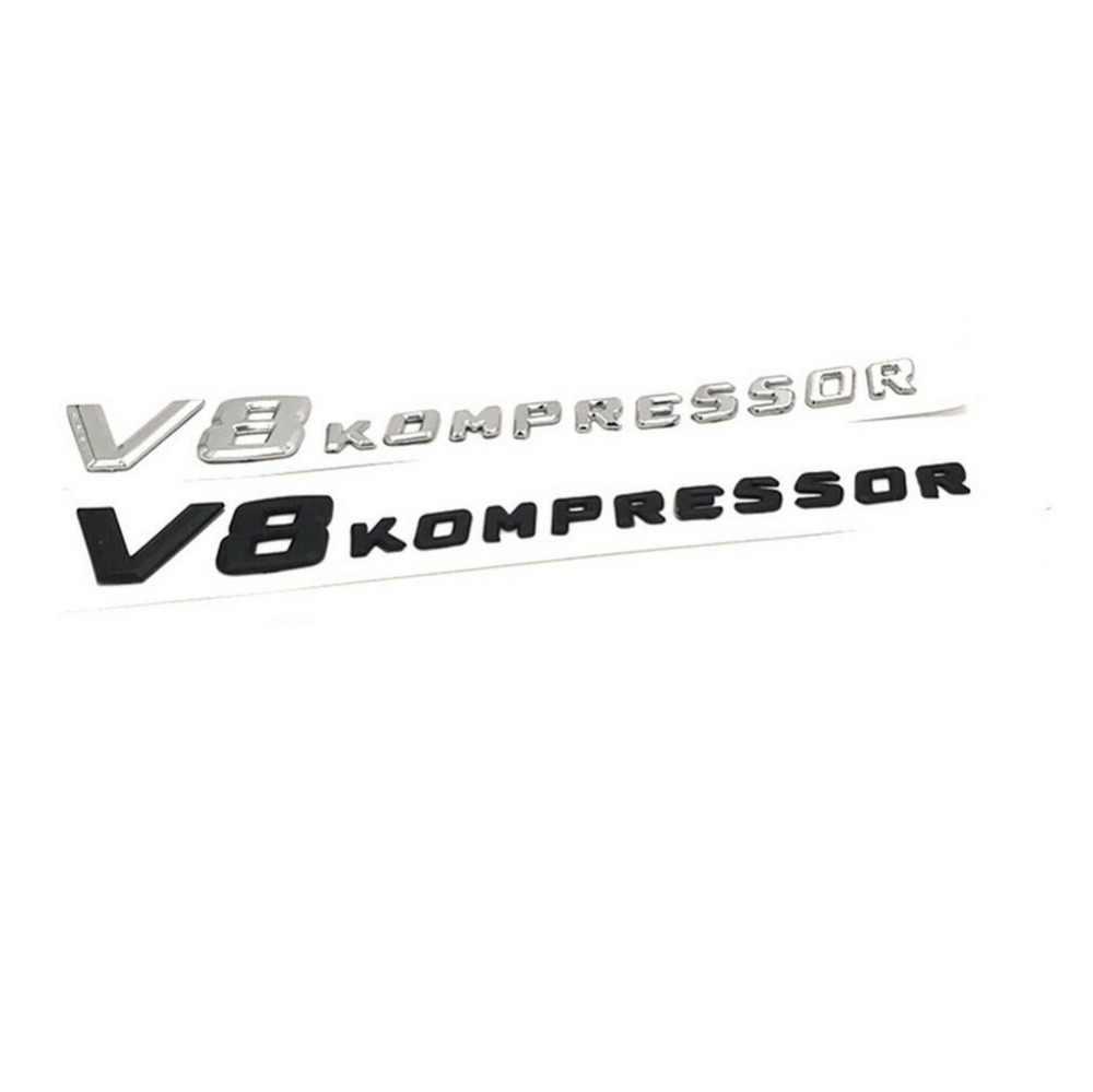 クローム/マットブラック V8 コンプレッサープラスチック車の側面手紙バッジエンブレムエンブレムデカールステッカーのためのメルセデスベンツ amg