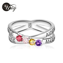 UNY Mothers Personalized Engravable Simulated Birthstone Ring In Sterling Silver (4 Stones And Names ) Customized Valentine Gift