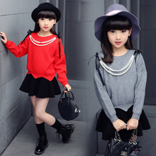 The girls fashion sweater thin bottoming shirt cotton sweater spring autumn clothes girl a lovely girl