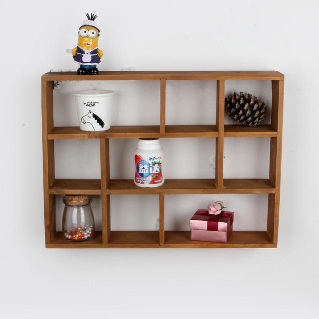 Wooden Box 9 Grids Shelf Home Storage Holder Rack Bathroom Kitchen Hanger Decoration Organizer