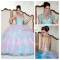 Rainbow Vestidos de Quinceañera Ruffles Balón vestido de Vestidos De Gala de Lujo Chaqueta Girls Debutante Vestido de Fiesta Con Cuentas Dulce 16 Vestido