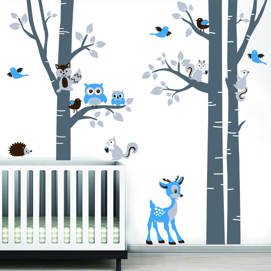 d1536d10410 ... Large Birch Trees Animals Owl Squirrel Deer Forest Vinyl Nursery Wall  Decals Personalized Art Stickers for ...