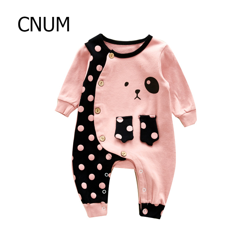 CNUM Baby Rompers Newborn Long Sleeve Cotton Girls Printed Autumn Boy Christmas 2017 Infant Triangle Climb Suits Baby Clothing warm thicken baby rompers long sleeve organic cotton autumn