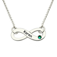 Wholesale Infinity Birthstone Name Necklace Personalized Silver Birthstone Name Necklace Engraved Infinity Sign Pendant