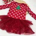Bebé ropa de bebé recién nacido del mameluco de la muchacha de los mamelucos de navidad de navidad del regalo del bebé recién nacido ropa de algodón del bebé de la navidad 1 unids/lote A-MC
