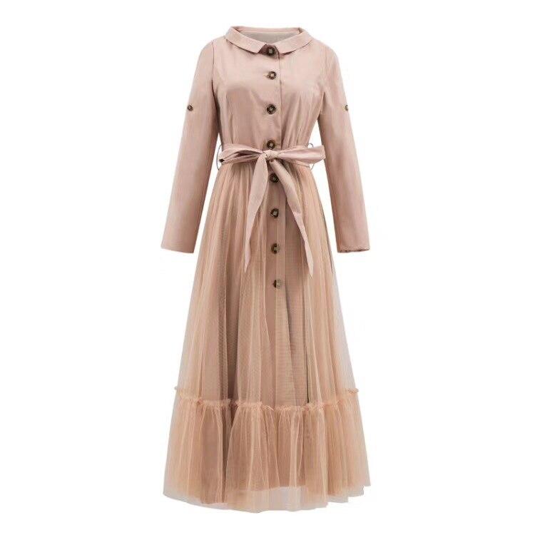 Long Automne Survêtement Pour Maille Avec Longue Femelle Hiver Vêtir Sauvage coat Trench Femmes Maxi Ceinture Kaki Manteau qg1w0