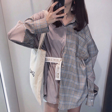 LANMREM 2019 New Summer summer  Fashion Tide Plaid Patchwork Striped Turn-down Collar Long Sleeve Loose Casual Woman Shirt SC085