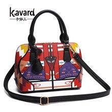 Kavard mujeres bolsa Pequeña Concha Bolso de la Impresión de La Pu de Asas de Cuero para Las Chicas de Moda Bolsos de Las Mujeres Famosas Marcas sac à principal