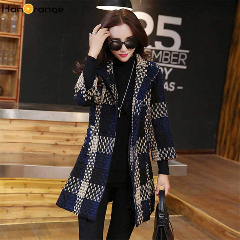 HanOrange 3 Quarter Sleeve Weave Plaid Pocket Temperament Elegant Contexture 2018 Winter Slim Woolen X-long Coat Plus Size