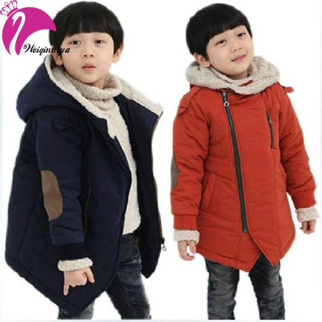 Brand New 2016 Otoño Invierno Moda y Casual Chaquetas de Cachemira del Muchacho del Cabrito de Manga Larga Con Capucha Abrigos Para Niños ropa