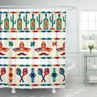 Shower Curtain Party Mexican Borders with in Native Style Mexico Fiesta Latino Cactus Tropical Hat