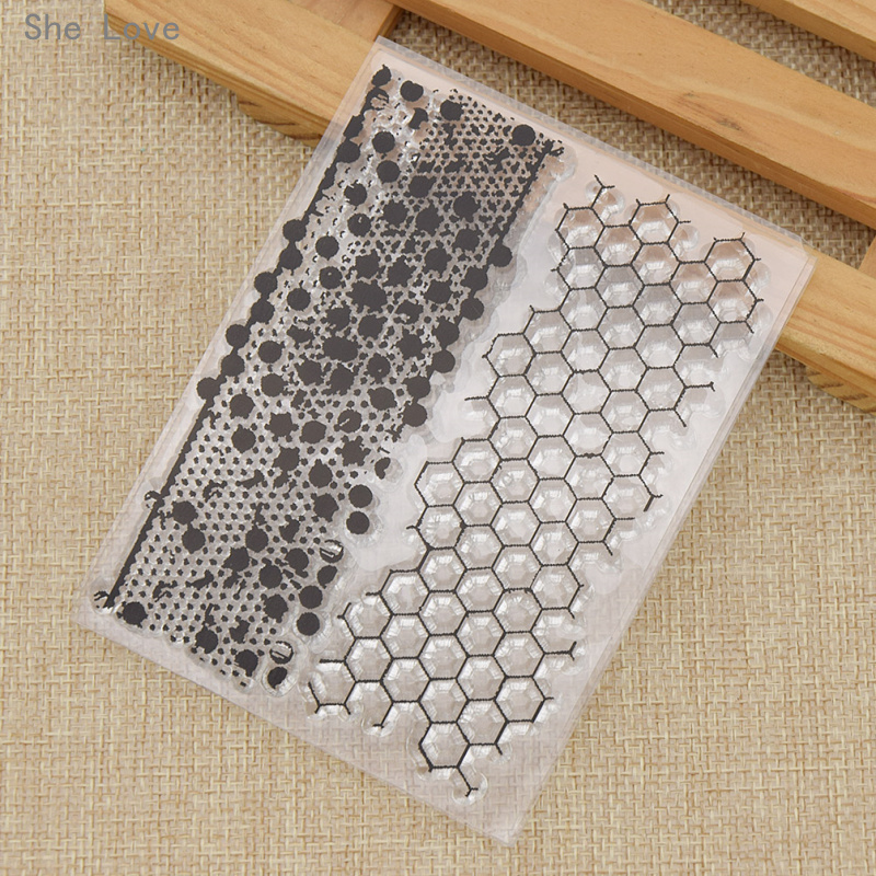 She Love Transparent Silicone Clear Stamp Honeycomb Pattern DIY Scrapbooking Card Making Handicrafts Decoration archetype transparent ver she