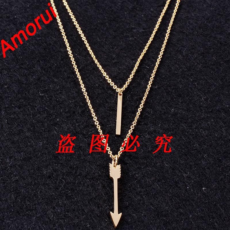 36ff1eb206bb Oro rosa oro plata Plumas flecha declaración joyería collar horizontal ID  Collares Collier mujer bijoux femme