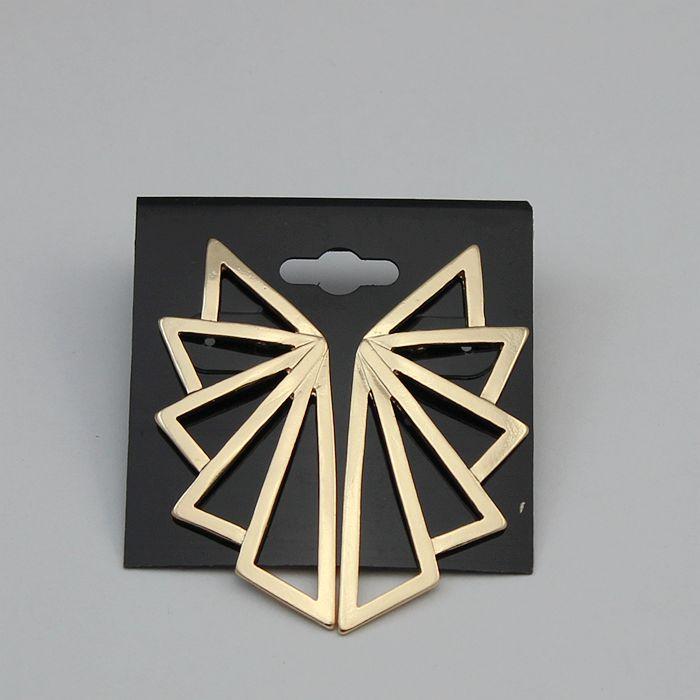 2016 New Geometric Earring Fashion Punk Designer Golden Triangle Fan Shaped Big Ear Stud ...
