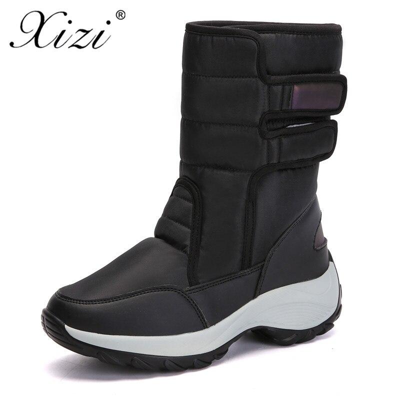 XIZI hiver bottes chaussures femmes neige bottines pour femmes de haute qualité mode imperméable fausse fourrure semelle dame chaude plate-forme chaussure