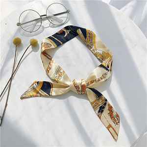 23 Colors Women Scarf Fashion Print Hair Tie Flower Leopard Striped Headkerchief Ribbon Retro Handle Bag Chiffon Headwear Scarve(China)