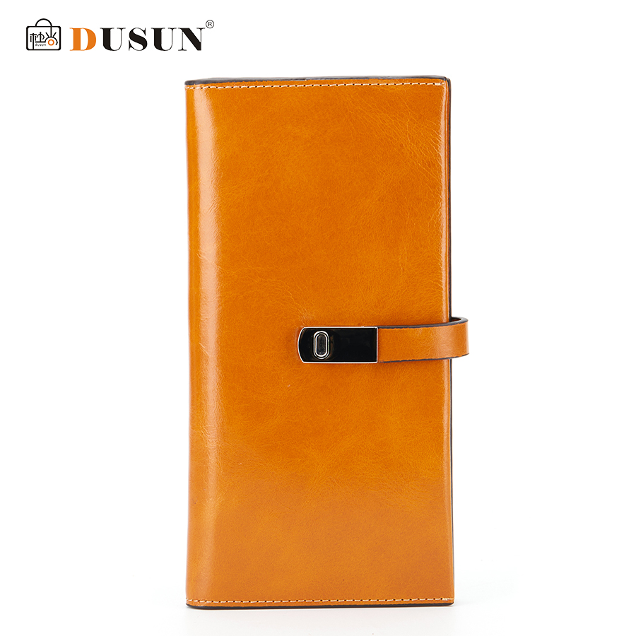 DUSUN Women Wallet Genuine Leather Wallets Woman Casual Clutch Bag Fashion Metal Lock Colorful Vintage Style