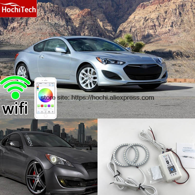 HochiTech Excellent RGB Multi-Color halo rings kit car styling for Hyundai Genesis Coupe 2010-14 angel eyes wifi remote control бампер excellent car 13 14 rav4 4s