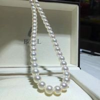 8 9mm AKOYA natural seawater pearl necklace pink collar round