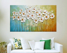 100% Hand Painted Textured Palette Knife White Flowers Oil Painting Abstract Modern Canvas Wall Art Living Room Decor Picture