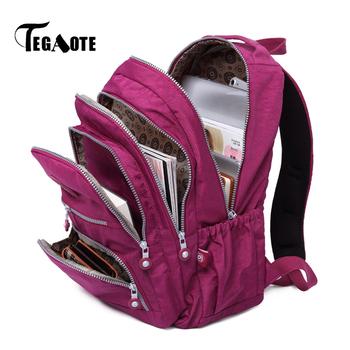 TEGAOTE plecak szkolny dla nastoletnich dziewcząt Bolsa Mochila Feminina plecak na laptopa z nylonu plecak podróżny dla dzieci 2020 tanie i dobre opinie Tłoczenie WOMEN Miękka Poniżej 20 litr 20-35 litr 36-55 litr Wnętrza przedziału Komputer pośrednia Wewnętrzna kieszeń